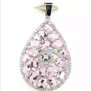 Pink Kunzite and CZ Abstract Pendant 925 New